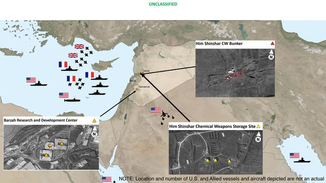 This image provided by the Department of Defense shows areas targeted in Syria by the US-led coalition in response to Syria's use of chemical weapons.