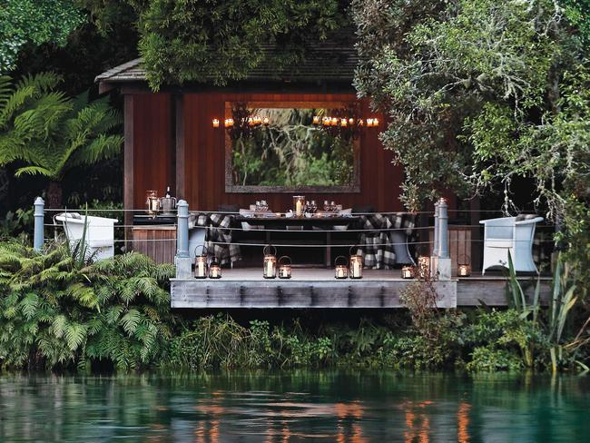 Huka Lodge dining jetty pavilion.