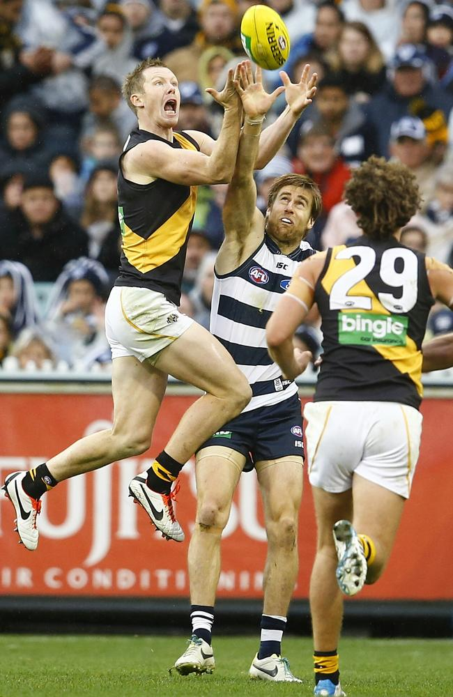 Lonergan held Jack Riewoldt to one goal. Picture: Michael Klein