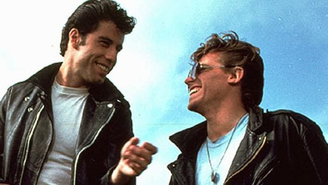 John Travolta and Jeff Conaway in a scene from the 1978 film. Picture: Supplied