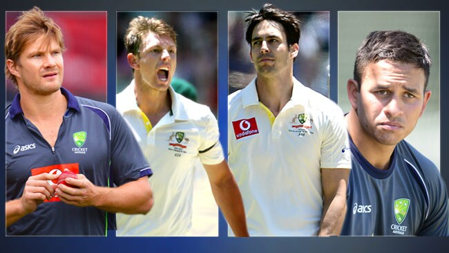 Shane Watson, James Pattinson, Mitchell Johnson and Usman Khawaja have all been axed from the third Test against India in Mohali.