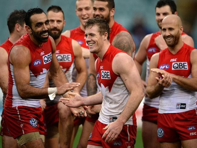 AFL — West Coast Eagles vs. Sydney Swans, Patersons Stadium, Perth. Photo by Daniel Wilkins. PICTURED- Swan Luke Parker after being awarded the best on ground award.