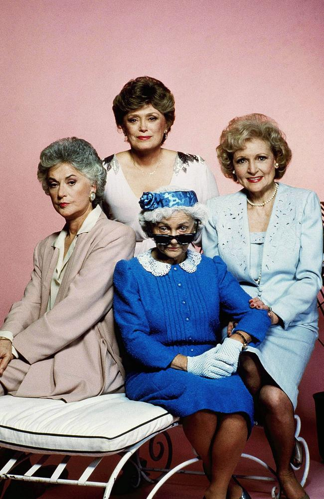 Betty White, right, with The Golden Girls cast, clockwise from left, Bea Arthur, Rue McClanahan and Estelle Getty.