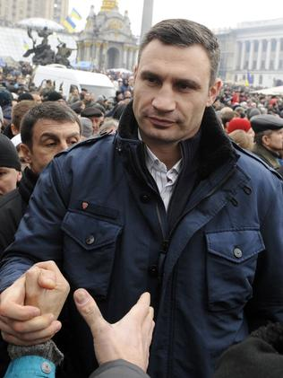 Popular with the people ... the Head of the Ukrainian UDAR (Punch) party Vitali Klitschko. Picture: Yuriy Dyachyshyn