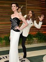 Actors Anne Hathaway and Jared Leto attend the 2014 Vanity Fair Oscar Party. Picture: Getty