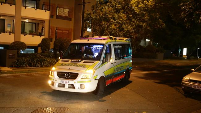 An ambulance leaves the Regatta Hotel just after 8pm on Sunday night.