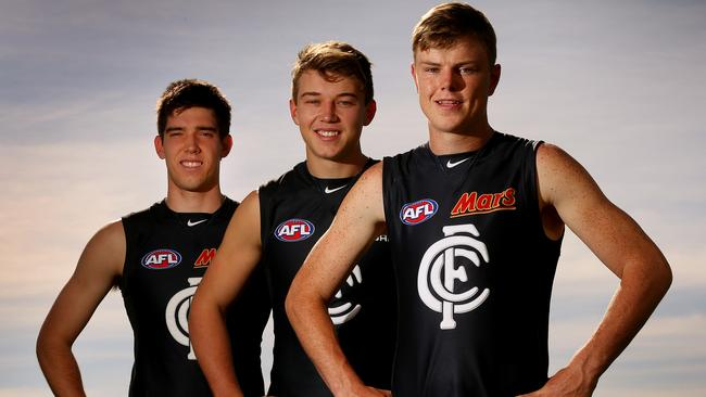 Carlton's latest batch of draftees (from left) Cameron Giles, Patrick Cripps and Nick Holman. Picture: Colleen Petch.