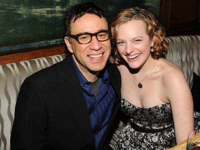 Happier times ... Actors Fred Armisen and Elisabeth Moss in 2009.