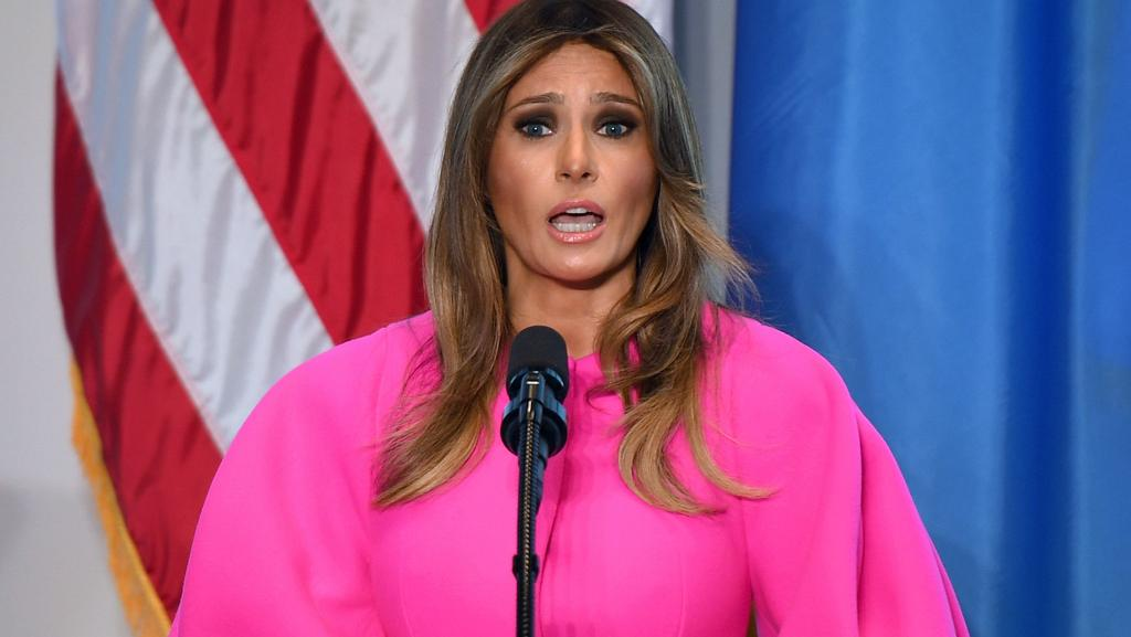 US First Lady Melania Trump addresses a United Nations luncheon in New York. Picture: AFP/Don Emmert