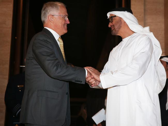 Mr Turnbull's current trip included a visit to Abu Dhabi, where he met with HH Sheikh Mohammed bin Zayed Al Nahyan, Crown Prince of Abu Dhabi, for discussions on trade, investment and security. Picture: Alex Ellinghausen