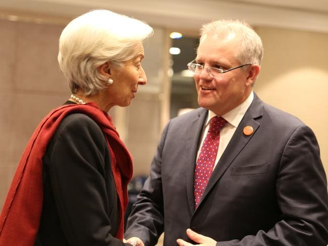 Scott Morrison meets International Monetary Fund managing director Christine Lagarde during the G20 Finance Ministers and Central Bankers meeting in Shanghai on the weekend.