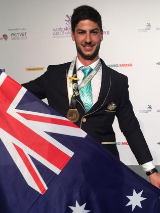 Victoria's Trystan Sammut won bronze for bricklaying. Picture: Monique Hore