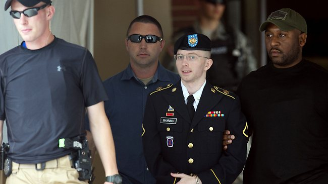 US Army Private First Class Bradley Manning leaves a military court after hearing his verdict in the trial at Fort Meade, Maryland.