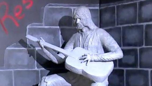 Tribute ... Kurt Cobain's hometown, of which he was never a fan, has dedicated this strange statue to him.