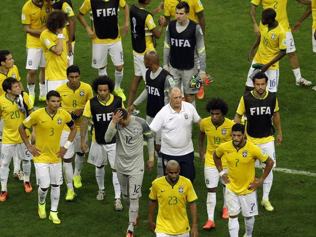 Brazil leave the pitch at the end of their loss to the Netherlands. Picture: Themba Hadebe