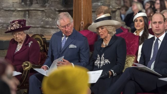 Meghan Markle sits behind Queen Elizabeth II during a Commonwealth Day Service at Westminster Abbey. Photo: AFP / Paul Grover