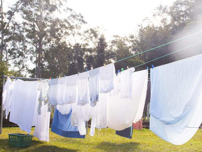 Cloths are hanging on clothesline