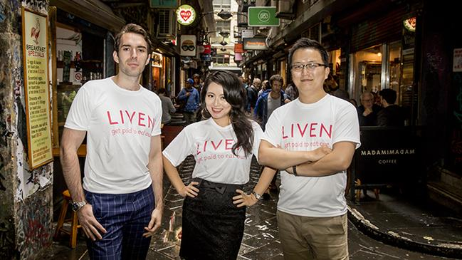 Liven founders David Ballerini, Grace Wong and Will Wong.