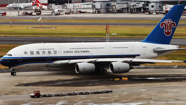 China Southern Airlines' first A380 service arrived in Sydney this morning. The new plane will replace the A330-300 service and will have the capacity to bring 502 seats per flight into Sydney. Picture: Zerna Toby