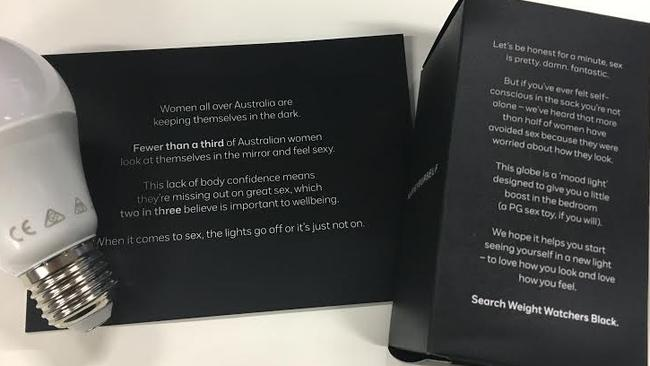 The PR kit sent as part of the Weight Watchers campaign, which included a mood light for female journalists.