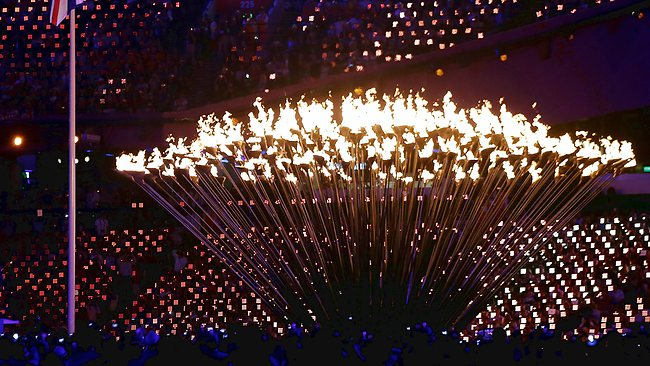 The Olympic flame cauldron