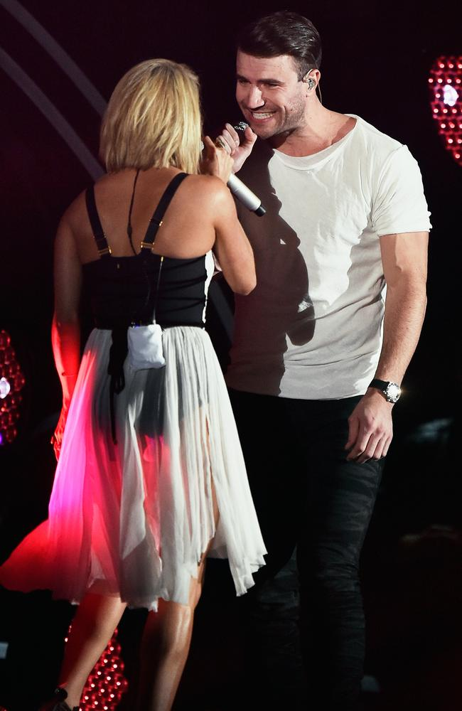 Sam Hunt with Carrie Underwood. The thirst is real. Picture: Getty