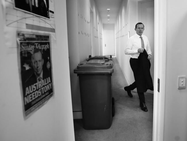Tony Abbott in Canberra where he greeted his new Liberal MPs into Parliament. Picture: Gary Ramage