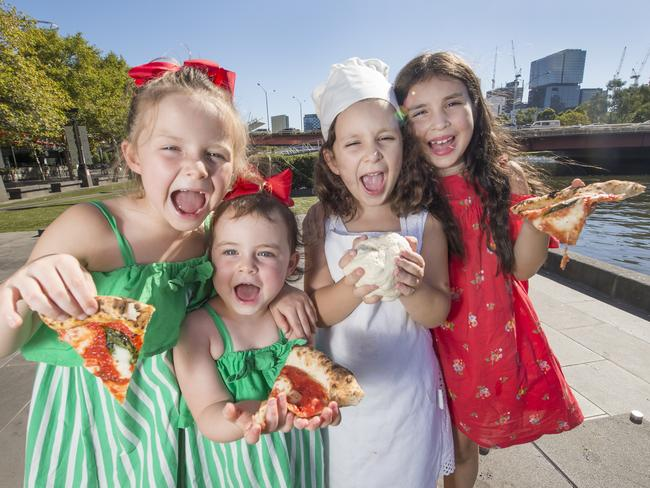 Maddie, Willow, Cara and Myah get ready for the Pizza Festival. Picture: Rob Leeson
