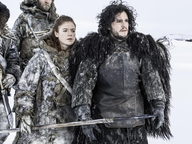 Game of Thrones filmed in Iceland. Kit Harington as Jon Snow at right and Rose Leslie as Ygritte at left. Picture: HBO