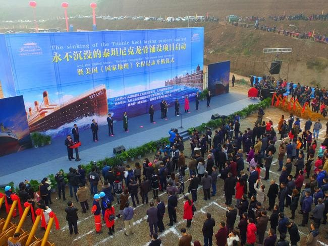 People attend a ceremony to start The Sinking of Titanic Keel Laying Project on November 30, 2016 in Suining, Sichuan Province of China. Picture: Getty.