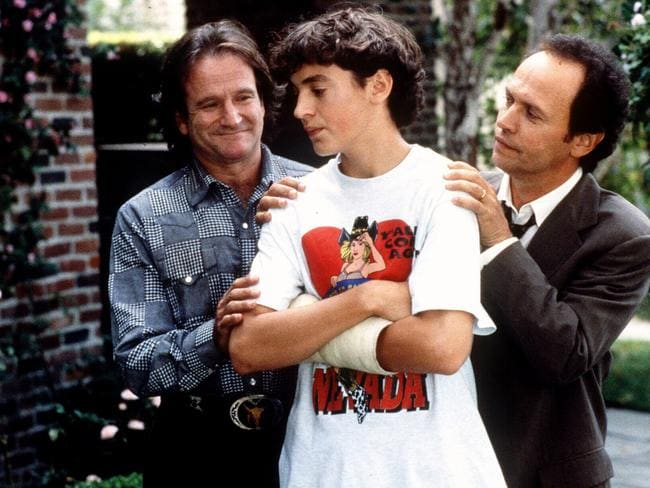 "Robin Williams, Charlie Hofheimer and Billy Crystal in 1997 film ""Father's Day"". Picture: Supplied"