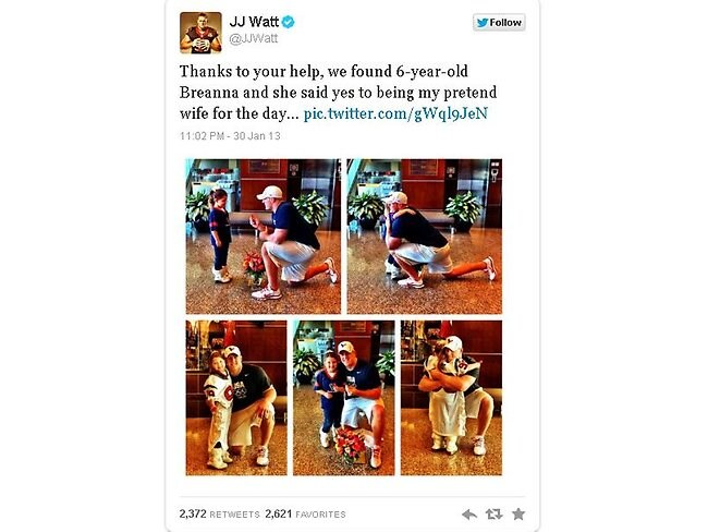JJ Watts proposes to a 6-year-old fan: Twitter