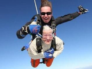 Irene O'Shea from Athelstone is hoping to skydive again at 101 . Picture of her skydiving when she was 100 , last year , with SA Skydiving . Picture: SA Skydiving