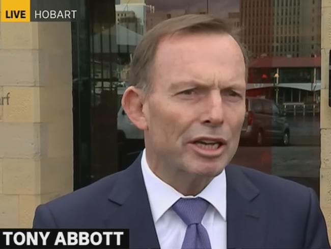 Former PM Tony Abbott addresses the media about yesterday's assault. Picture: ABC