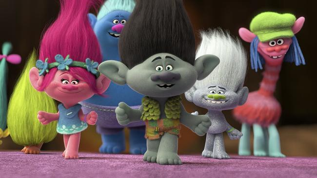 Princess Poppy (Anna Kendrick), Branch (Justin Timberlake) and friends in a scene from the DreamWorks film Trolls. (Picture supplied)