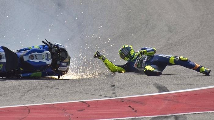 MotoGP: Valentino Rossi crashes in 2016 Grand Prix of The Americas but had clutch trouble from ...