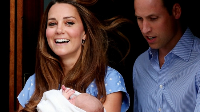 Kate Middleton and Prince William leave the Lindo Wing with Prince George. Photo: AP
