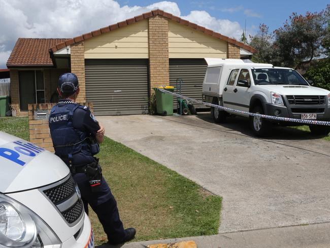 Police search the home Linda Sidon shared with her violent son for clues to her death. Picture: Glenn Hampson