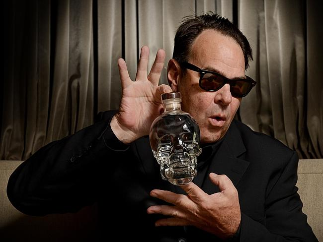 Dan Aykroyd promoting his vodka brand Crystal Head Vodka.