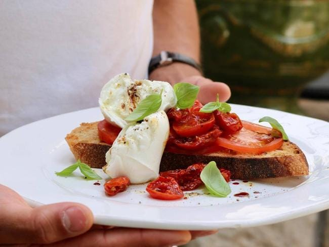 The tomato mozzarella tartine dish. Picture: Miranda O'Rourke