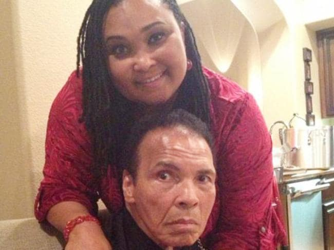 Suffers ... Muhammad Ali, who is pictured with his daughter, Maryum, has Parkinson's disease. Picture: Twitter