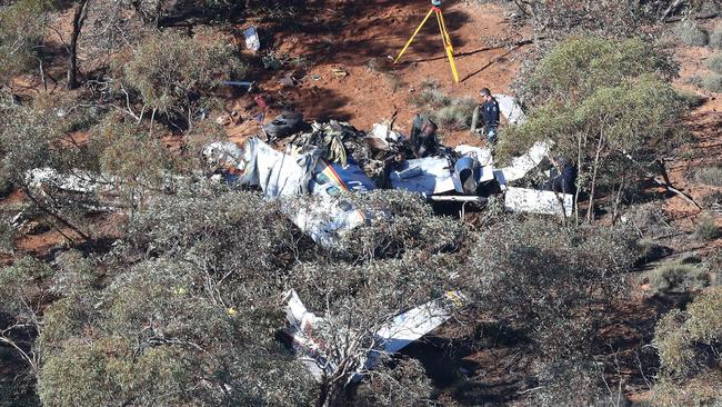 The crash of a Rossair Cessna Conquest near Renmark claimed the lives of pilots Martin Scott, 65, and Paul Daw, 48, and CASA officer Stephen Guerin, 56. Picture: Dylan Coker.
