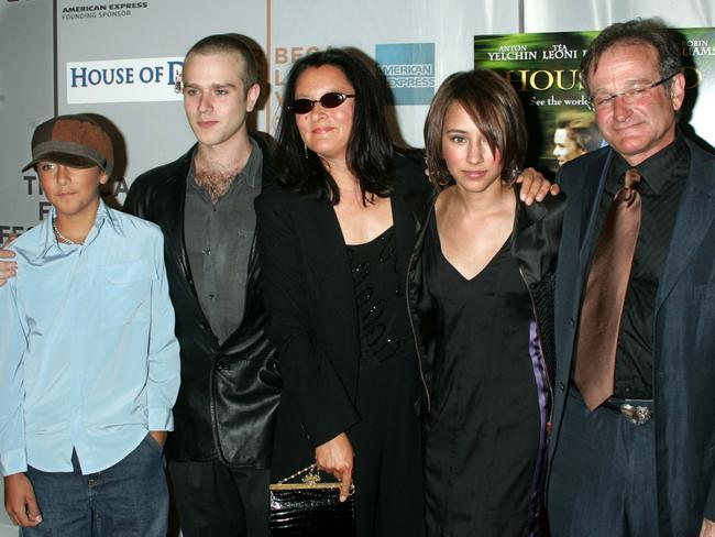 The Williams Family(right to left)Robin Williams, daughter Zelda, previous wife Marcia, son Cody and son Zac at the Tribeca Performing Arts Center in New York City. Picture: Getty