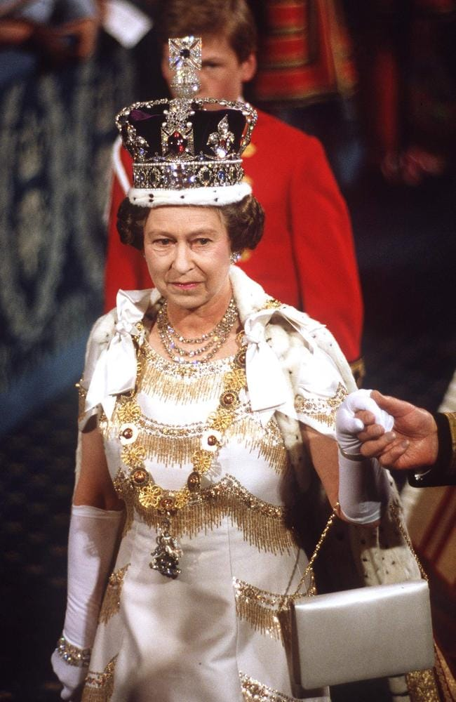 The Queen wearing the Imperial State Crown. Picture: Tim Graham/Getty Images