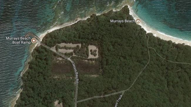 The foundations for the abandoned Jervis Bay power station are still visible today. Picture: Google Maps.