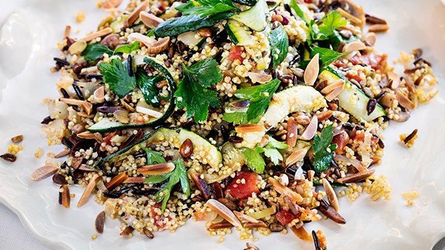 Wild rice, millet and almond pilaf