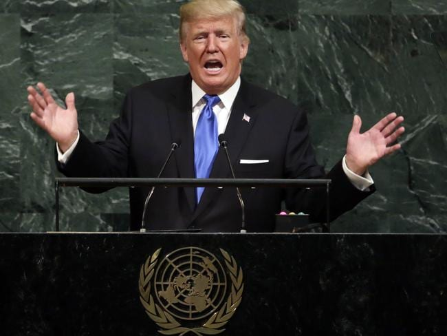 US President Donald Trump addresses the 72nd session of the United Nations General Assembly. Picture: AP