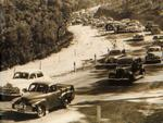 Traffic heading to the Oakbank races in 1954 along Mt Barker Rd.