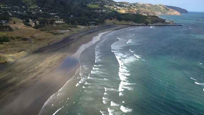 An aerial picture of Muriwai beach, north of Auckland, after the fatal shark attack. Picture: Twitter