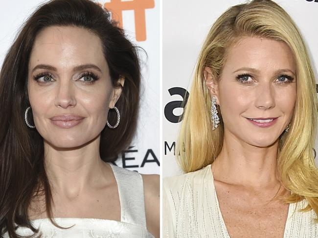 Angelina Jolie and Gwyneth Paltrow say they both sexually harassed by Harvey Weinstein. Picture: AP